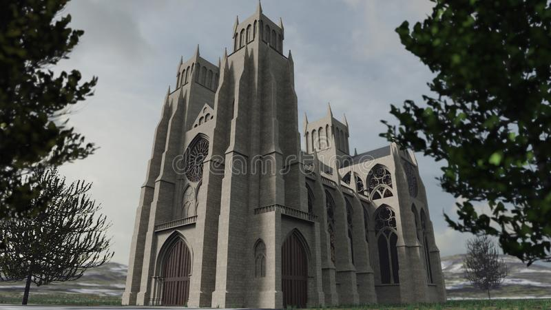 Rendu 3D détaillé d'une cathédrale antique photographie stock libre de droits