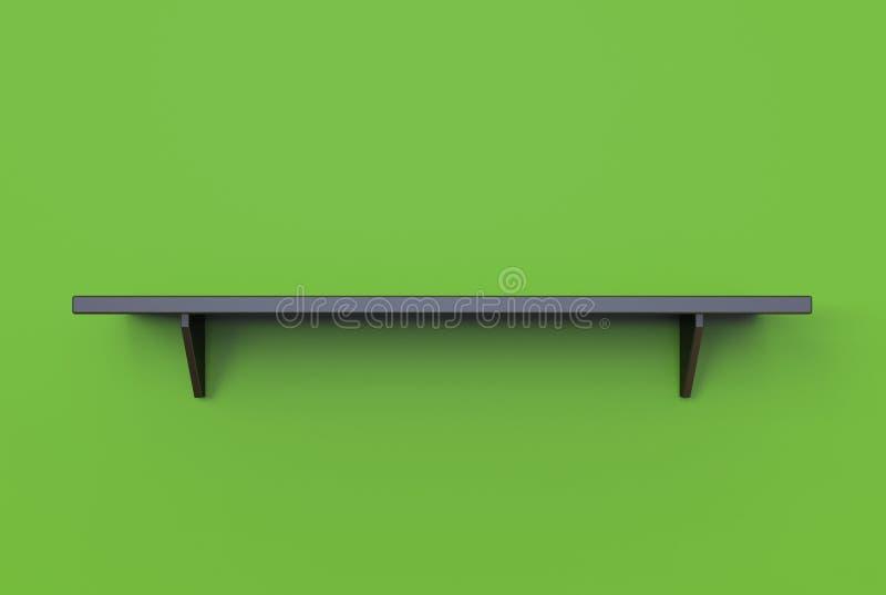 rendu 3d d'étagère noire pendante moderne fraîche de couleur sur un vert illustration stock