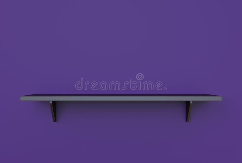 rendu 3d d'étagère noire pendante moderne fraîche de couleur sur une obscurité illustration stock