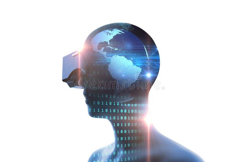 rendu 3d d'humain virtuel dans le casque de VR sur la technologie futuriste illustration de vecteur