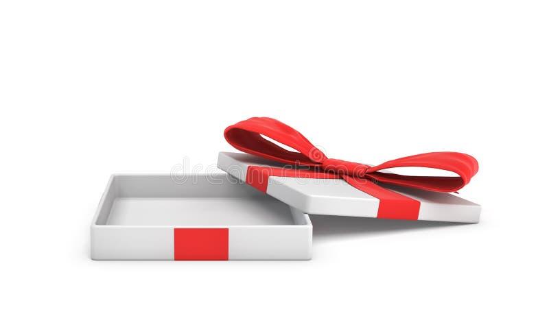 rendu 3d d'un boîte-cadeau plat blanc avec un arc rouge sur le fond blanc avec le couvercle ouvert illustration stock