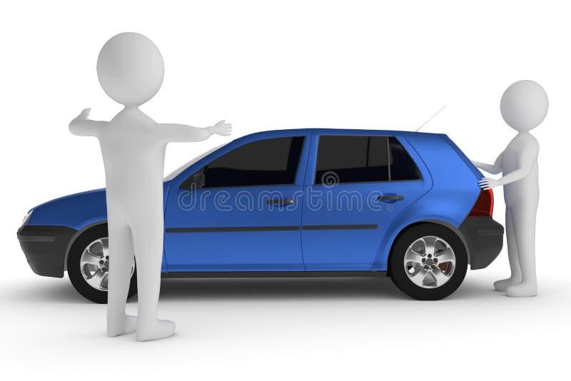 rendu 3D d'un caractère d'argile qui pousse une voiture tandis qu'une autre personne montre la distance à l'obstacle illustration libre de droits