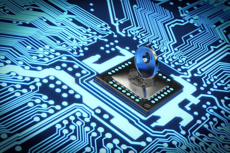 rendu 3D d'un circuit électronique sûr photographie stock
