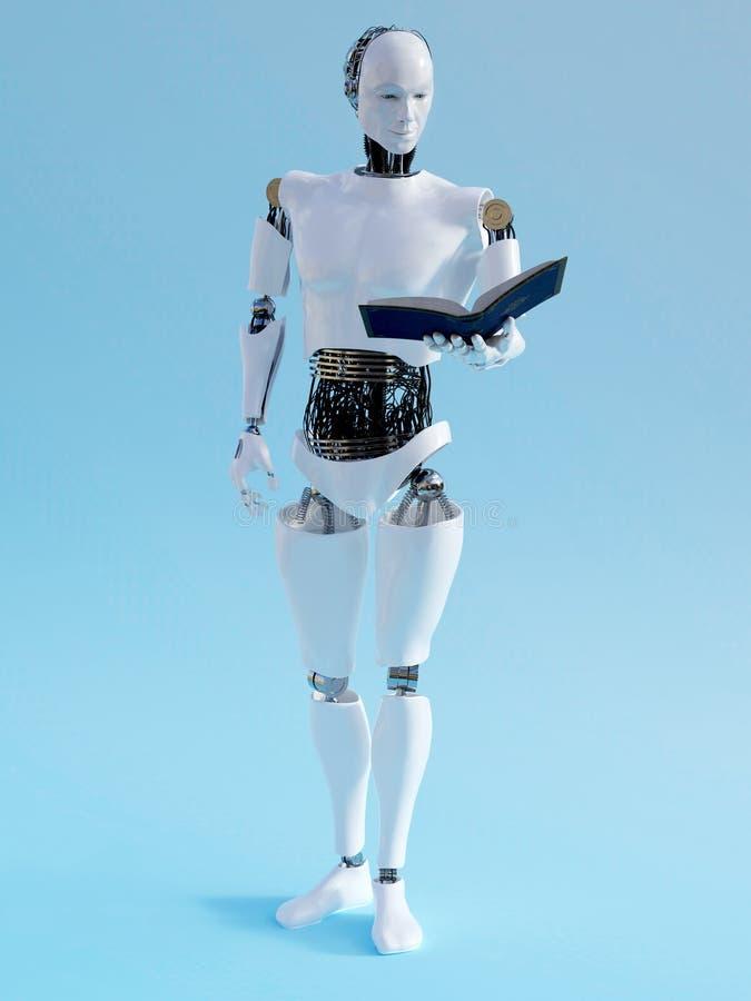 rendu 3D d'un homme de robot tenant le livre illustration libre de droits