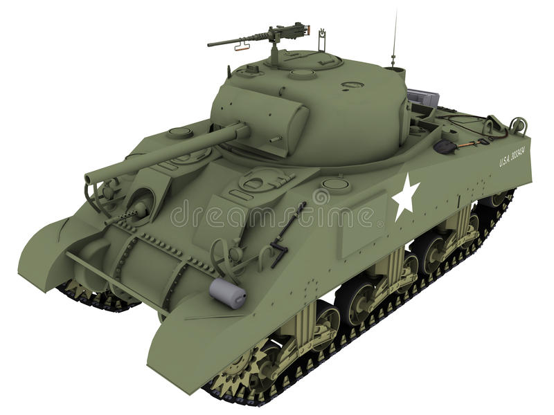rendu 3d d'un M4A4 Sherman Tank illustration stock