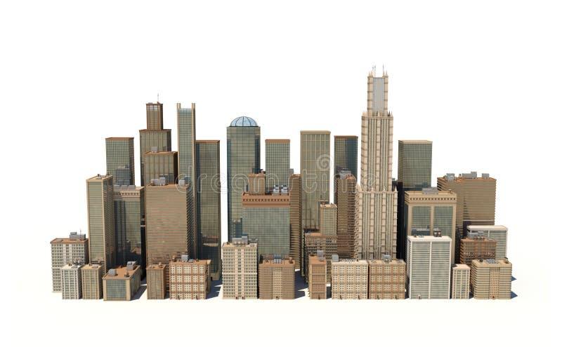 rendu 3d d'un paysage de ville avec des immeubles et des gratte-ciel de bureaux sur le fond blanc illustration libre de droits
