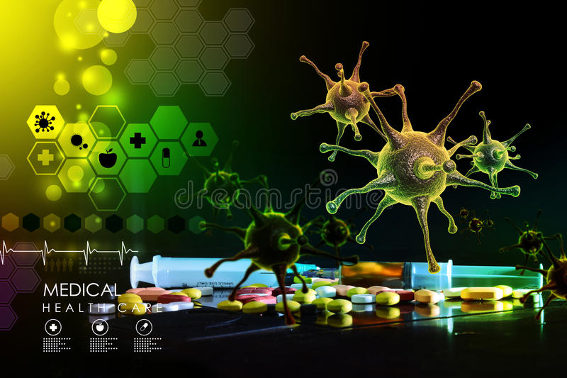 rendu 3d d'un virus illustration libre de droits