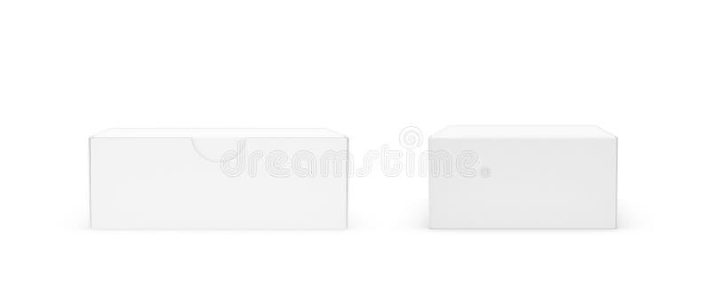 rendu 3d d'une boîte rectangulaire blanche avec un couvercle attaché fermé dans l'avant et les vues arrières sur le fond blanc illustration libre de droits