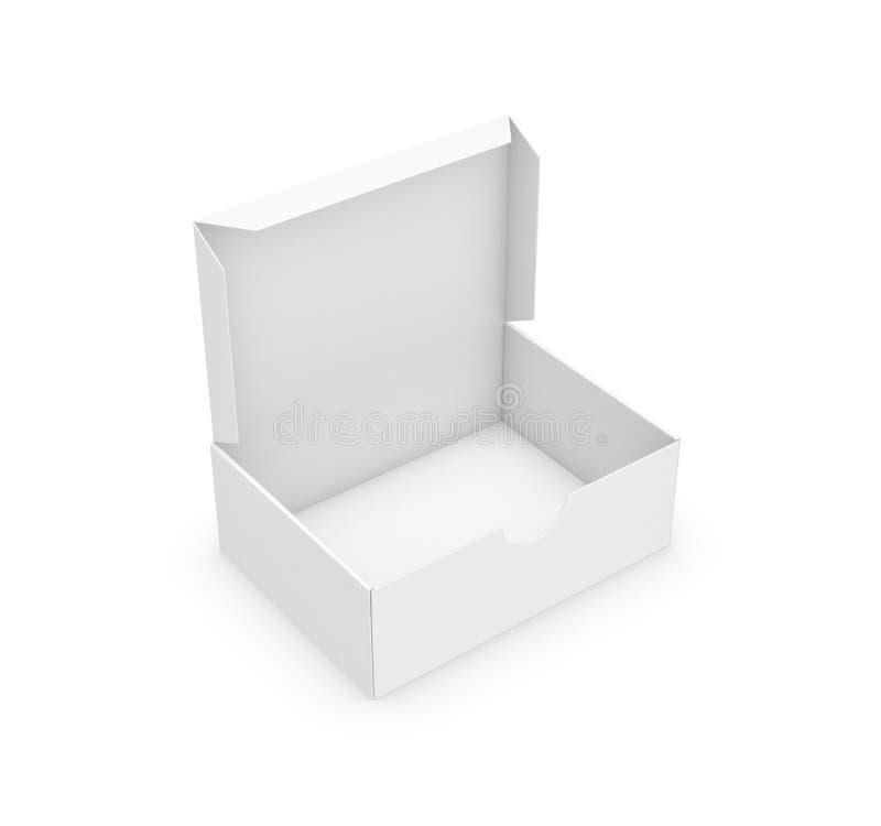 rendu 3d d'une boîte rectangulaire blanche avec un couvercle attaché ouvert sur le fond blanc illustration stock