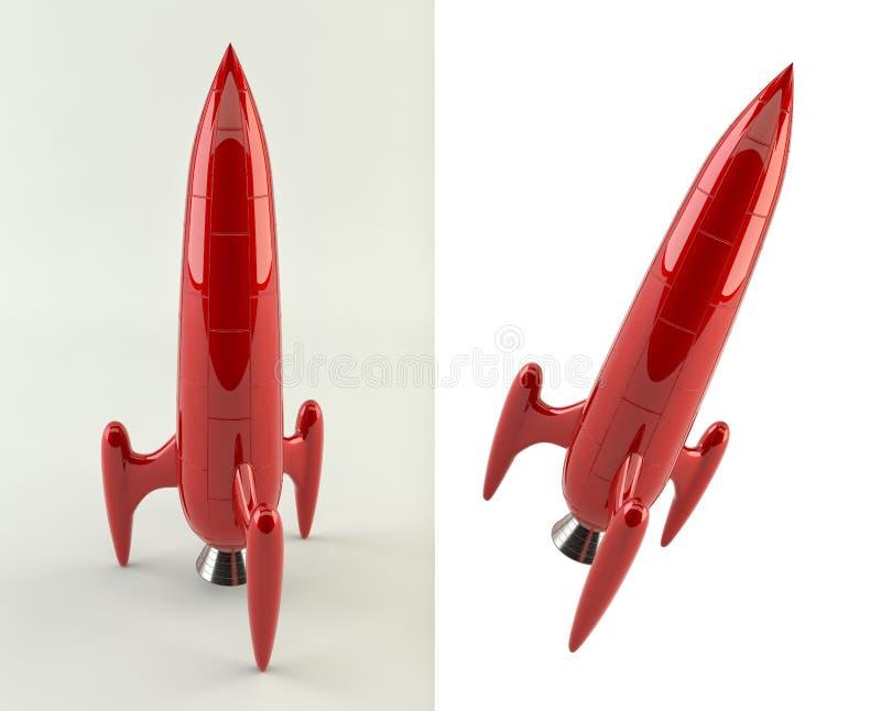 rendu 3D d'une fusée comique rouge de style illustration libre de droits