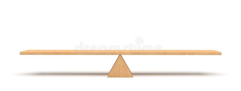 rendu 3d d'une planche en bois équilibrant sur une triangle en bois d'isolement sur le fond blanc illustration de vecteur