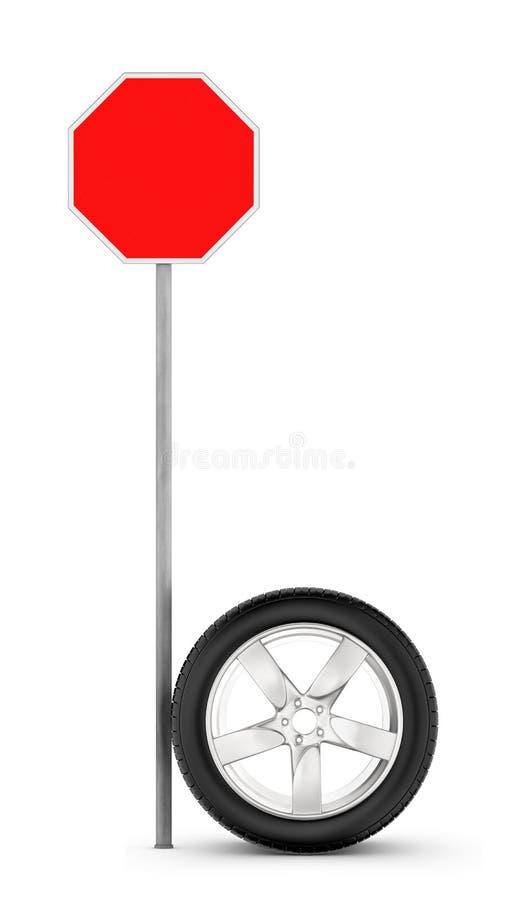 rendu 3d d'une roue de chrome de voiture se tenant sur sa jante près d'un panneau routier rouge vide illustration libre de droits
