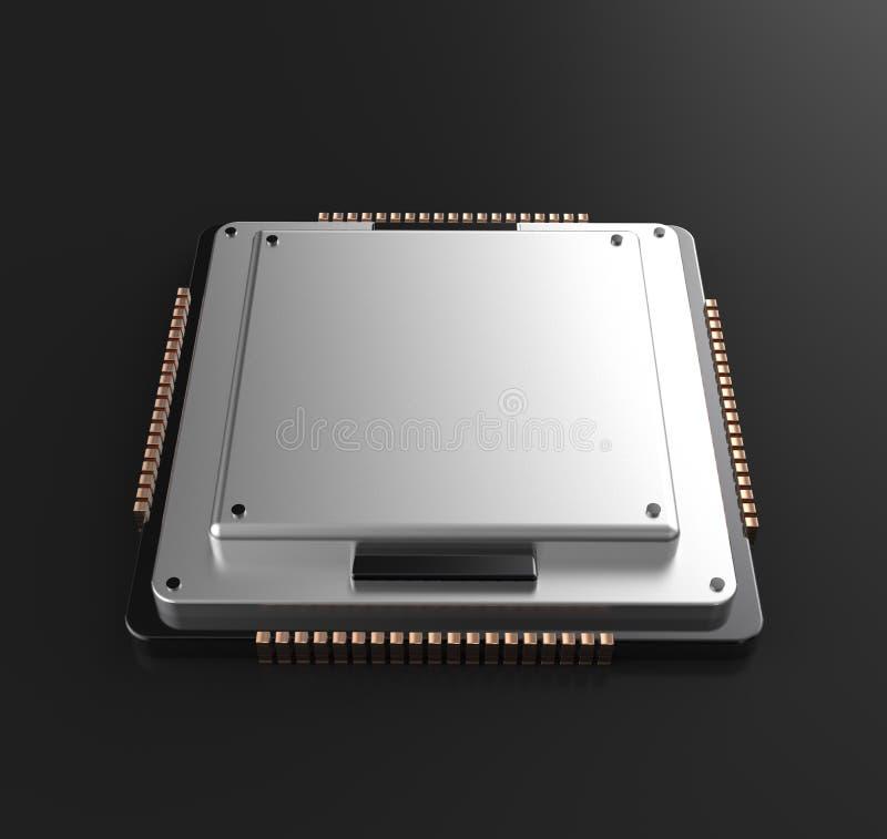 rendu 3d d'unité centrale de traitement de processeurs d'ordinateur central illustration de vecteur
