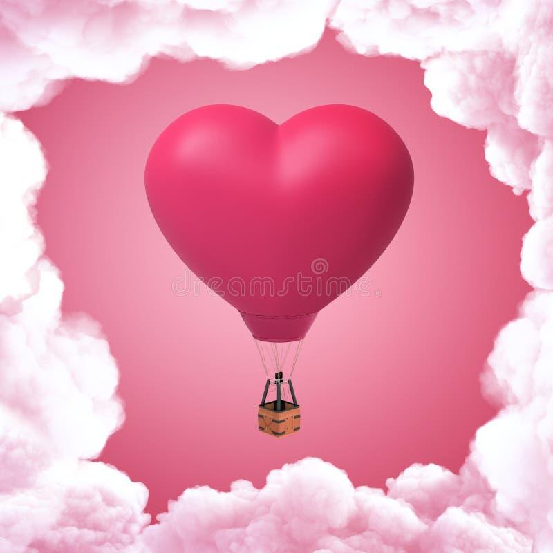 rendu 3d de ballon à air chaud en forme de coeur de rose avec les nuages blancs sur le fond rose illustration libre de droits
