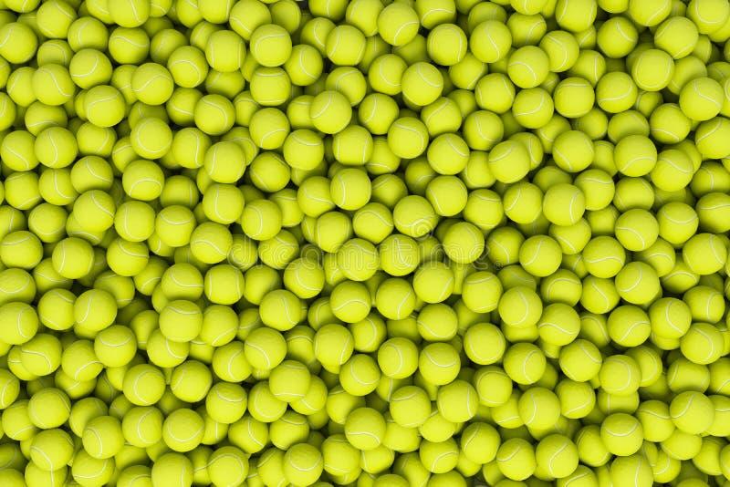 rendu 3d de beaucoup de balles de tennis jaunes acides se situant dans un tas comme vu d'en haut photos libres de droits