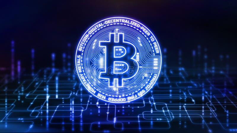 rendu 3D de Bitcoin BTC sur le fond abstrait d'organigramme de programmation de logiciel illustration stock