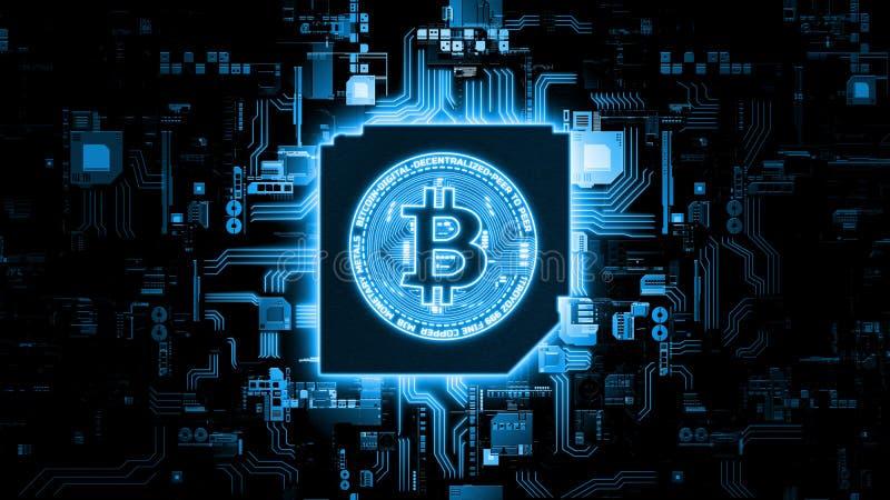 rendu 3D de Bitcoin BTC sur le fond abstrait d'organigramme de programmation de logiciel photographie stock