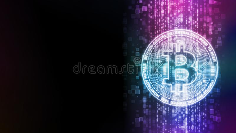 rendu 3D de Bitcoin rougeoyant BTC sur le fond abstrait d'écoulement de données numériques illustration libre de droits