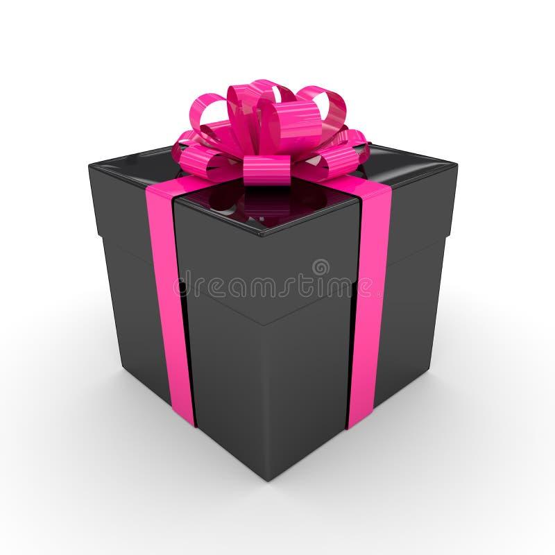 rendu 3d de boîte-cadeau noir avec le ruban rose au-dessus du wh illustration de vecteur