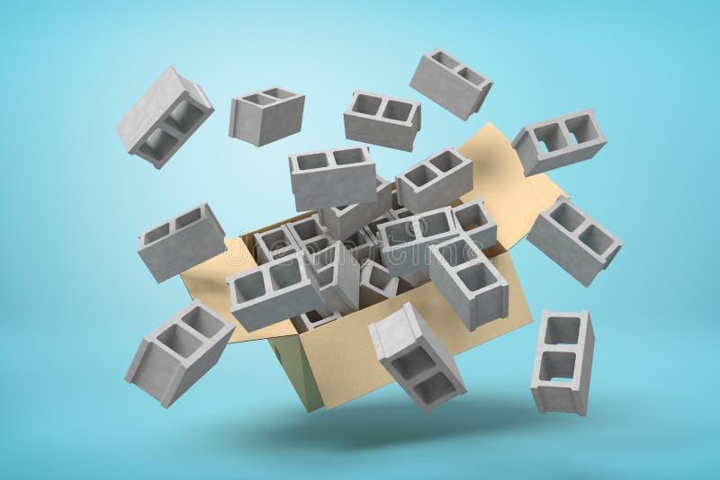 rendu 3d de bo?te en carton en air plein des briques creuses grises qui volent et flottent dehors sur le bleu illustration de vecteur