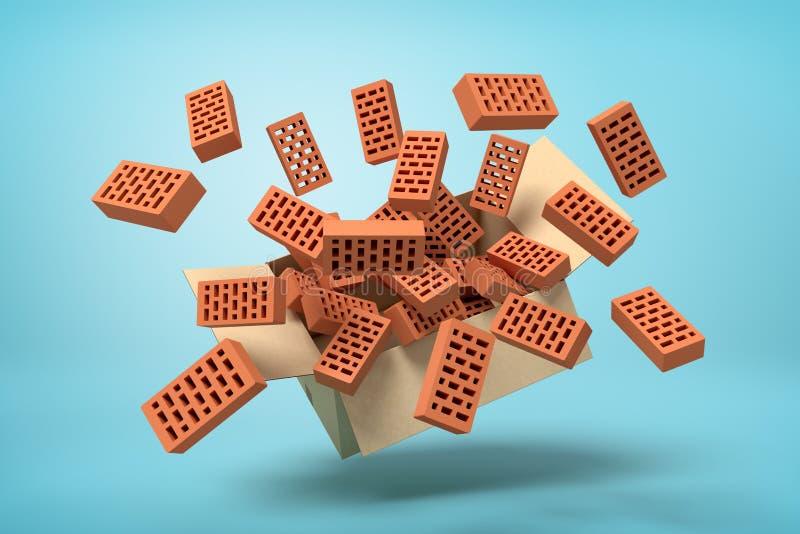 rendu 3d de boîte en carton suspendu en air plein des nouvelles briques perforées brunes qui volent sur bleu-clair illustration libre de droits