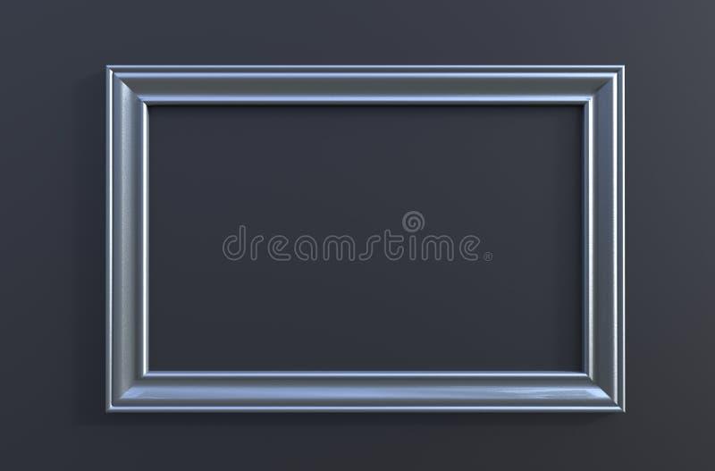 rendu 3d de cadre gris accrochant moderne de photo couleur sur un noir illustration stock