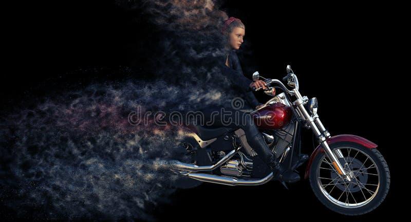 rendu 3d de cavalier de fille sur la moto illustration de vecteur