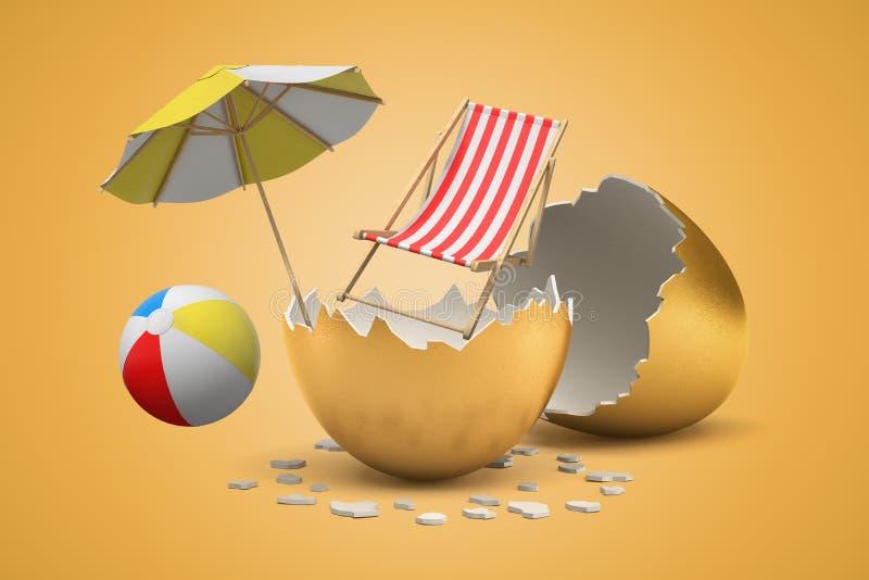 rendu 3d de chaise et de parapluie de plage avec du ballon de plage d'arc-en-ciel hachant hors de l'oeuf d'or sur le fond jaune illustration libre de droits