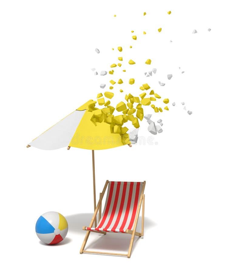 rendu 3d de chaise de plage, de boule de vent, et de sunbrella rayés de plage qui commence à se dissoudre dans des morceaux à par illustration stock