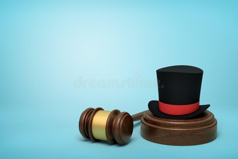 rendu 3d de chapeau supérieur noir avec le ruban rouge sur retentir le bloc avec le marteau de juge se trouvant à coté sur le fon illustration stock