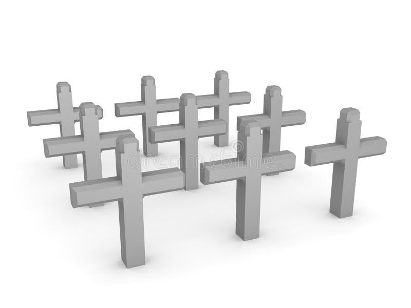 rendu 3D de cimetière avec des croix illustration stock