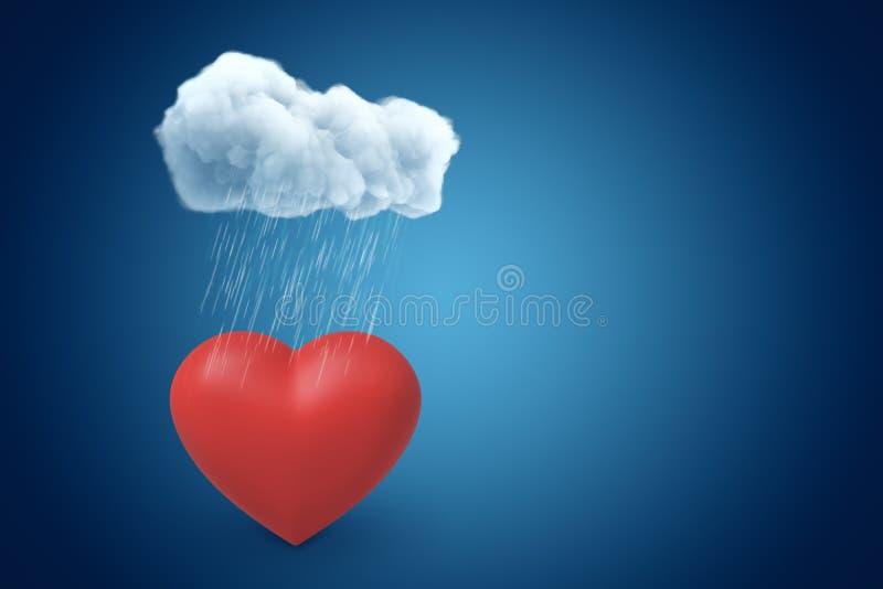 rendu 3d de coeur rouge de valentine sous le nuage pleuvant sur le fond bleu de gradient avec l'espace de copie illustration libre de droits