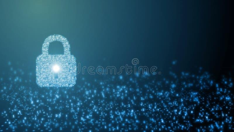rendu 3D de concept de sécurité d'Internet Serrure de protection de Digital créée par la carte d'ordinateur sur le fond abstrait  illustration libre de droits
