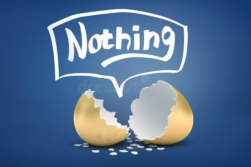 """rendu 3d de coquille d'oeuf d'or cassée avec le titre """"rien """"en haut illustration stock"""
