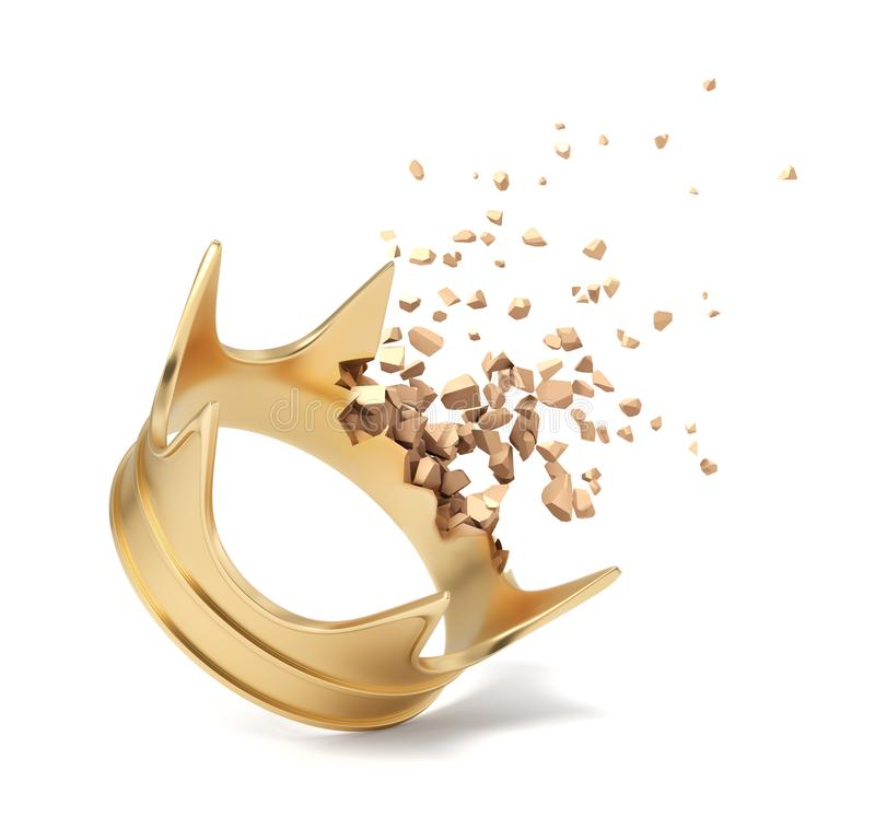 rendu 3d de couronne d'or commençant à se dissoudre dans les particules sur le fond blanc illustration libre de droits