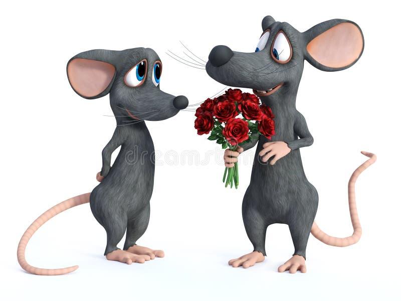 rendu 3D de dater de deux souris de bande dessinée illustration de vecteur