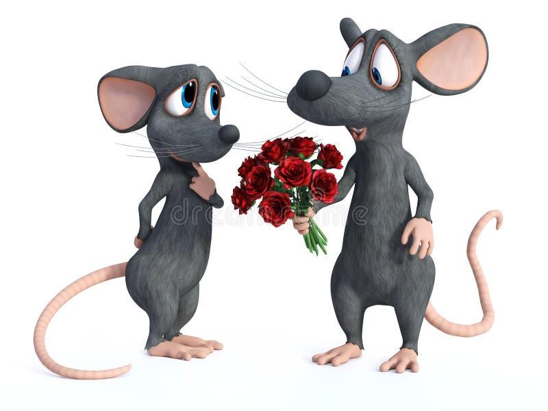 rendu 3D de dater de deux souris de bande dessinée illustration stock