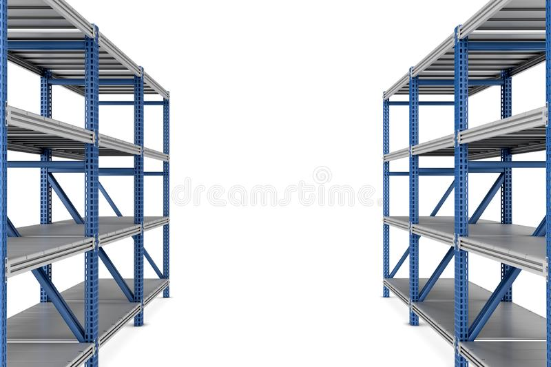 rendu 3d de deux étagères vides de support en métal d'isolement sur le fond blanc illustration stock
