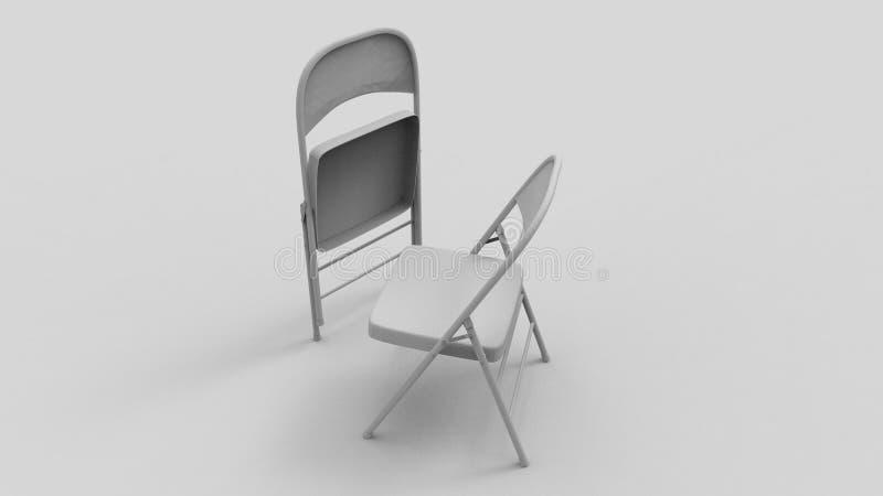 rendu 3d de deux chaises pliantes d'isolement à l'arrière-plan blanc de studio illustration libre de droits