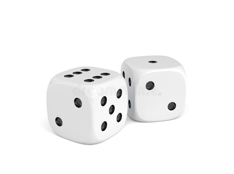 rendu 3d de deux matrices blanches se tenant près de l'un l'autre sur un fond blanc illustration stock