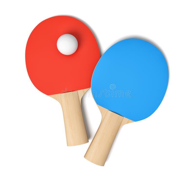 rendu 3d de deux raquettes de ping-pong avec les caoutchoucs rouges et bleus et une la boule de ping-pong blanche vus de au-dessu illustration de vecteur