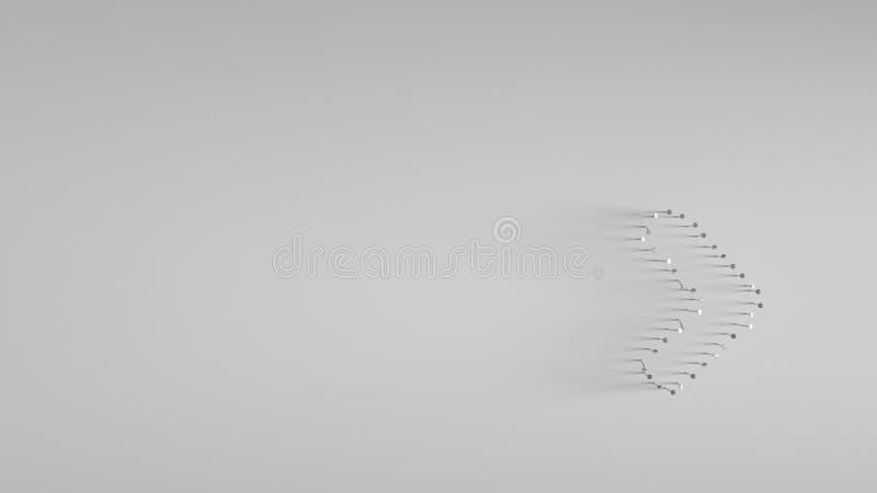 rendu 3D de divers clous en m?tal dans la forme d'? angle droit illustration libre de droits