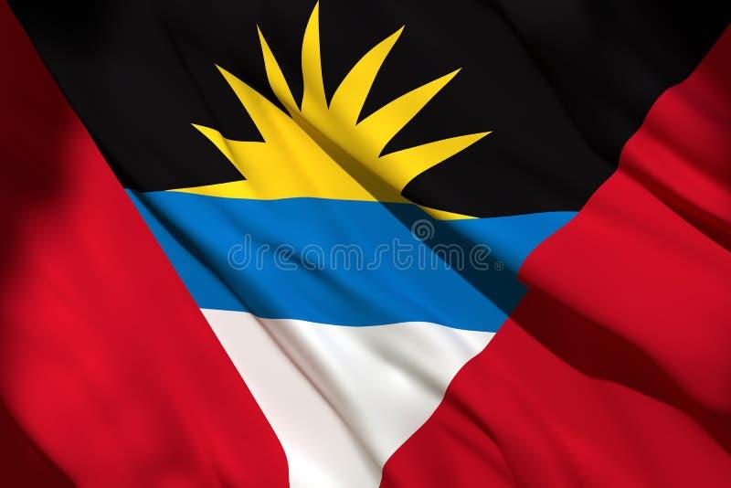 rendu 3d de drapeau de l'Antigua-et-Barbuda illustration de vecteur