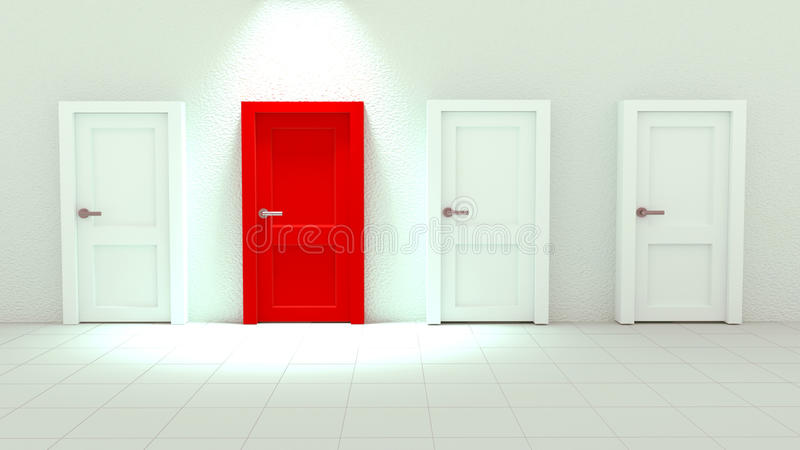 rendu 3d de fin vers le haut de porte simple rouge parmi les portes blanches illustration libre de droits