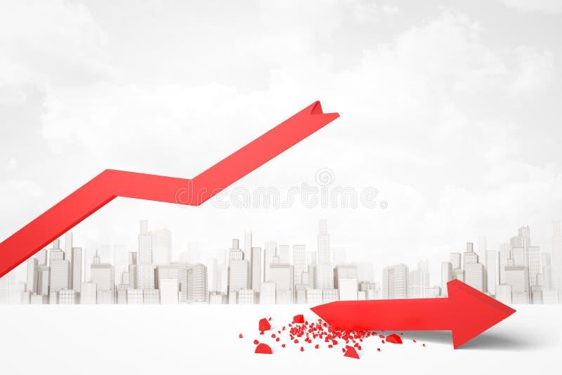 rendu 3d de flèche cassée rouge de graphique avec le paysage urbain moderne à l'arrière-plan illustration de vecteur