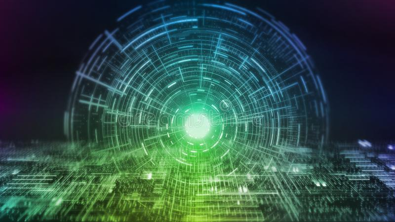 rendu 3D de fond abstrait Interface de hud de Digital sur le circuit rougeoyant de tache floue Pour l'intelligence artificielle,  illustration stock