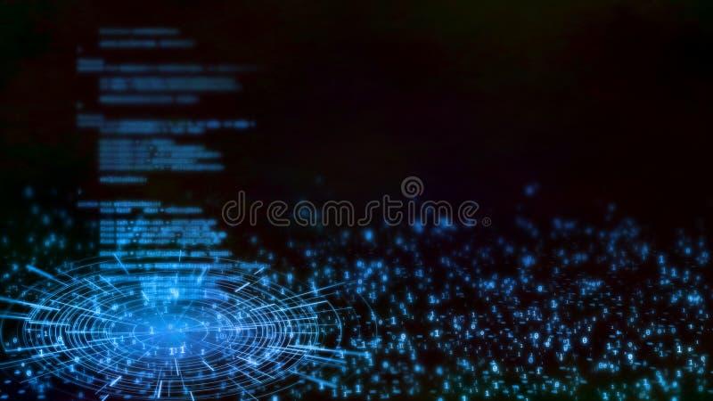 rendu 3D de fond abstrait de technologie Intégrer sur dans le logiciel l'interface menée rougeoyante de hud sur le fond binaire illustration stock