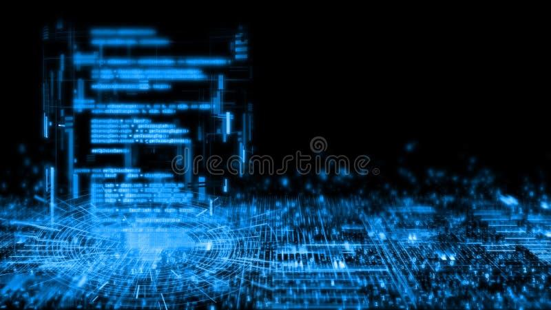 rendu 3D de fond abstrait de technologie Sci fi intégrant dans le logiciel dans le tube de la géométrie sur le panneau rougeoyant illustration stock
