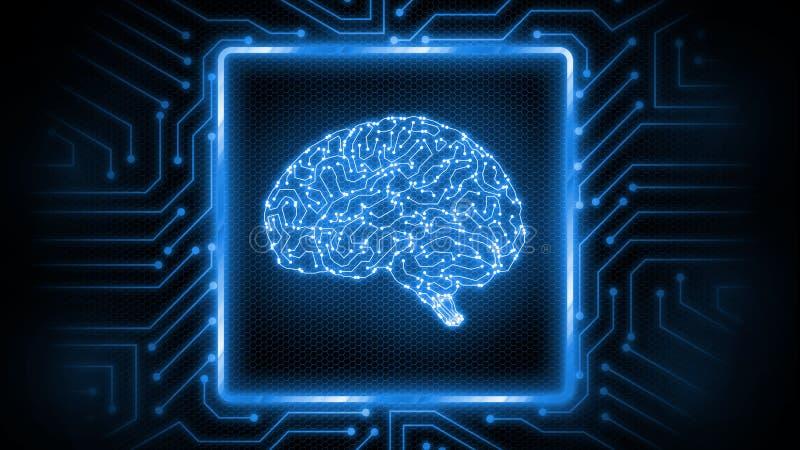 rendu 3D de fond rougeoyant bleu de carte de r?sum? avec le logo de cerveau au centre Perfectionnez pour l'intelligence artificie illustration libre de droits