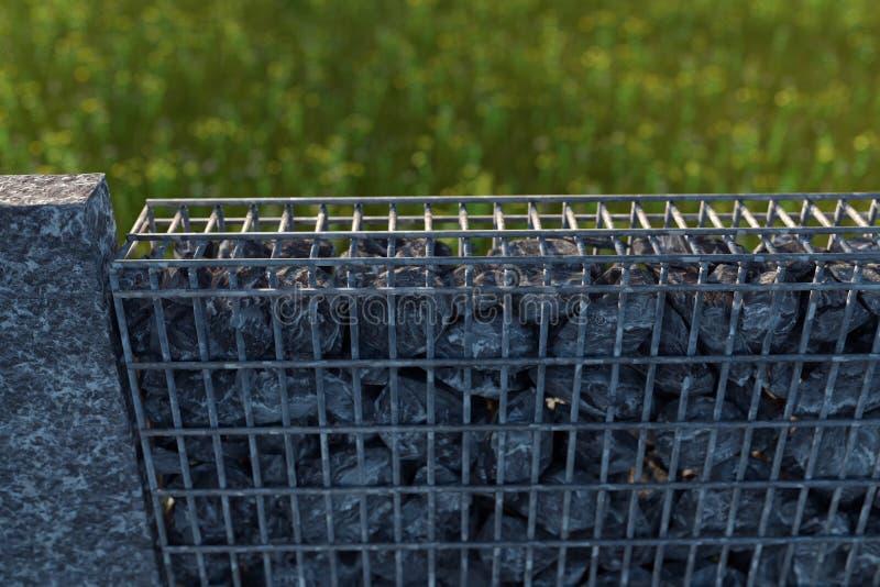 rendu 3d de gabione gris avec des pierres de gravier illustration de vecteur